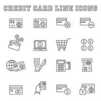 iconos de línea de tarjeta de crédito vector