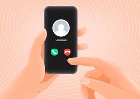 hombre respondiendo a una llamada entrante. llamador desconocido vector