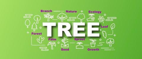 banner de moda de vector de árbol