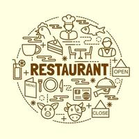 restaurante mínimo conjunto de iconos de línea fina vector