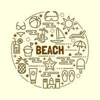 beach minimal thin line icons set vector