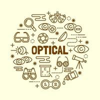 conjunto de iconos de línea delgada mínima óptica