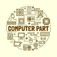 parte de la computadora, mínimo, línea fina, iconos, conjunto vector