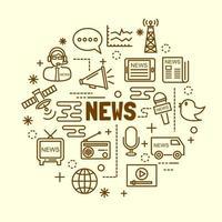 news minimal thin line icons set vector