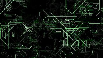 linha de microcircuito verde digital fundo abstrato video