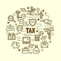 conjunto de iconos de delgada línea mínima de impuestos vector