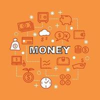 iconos de contorno mínimo de dinero vector