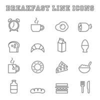 breakfast line icons vector