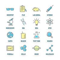 science vector line icons with flat colors