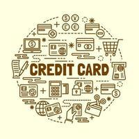 credit card minimal thin line icons set vector