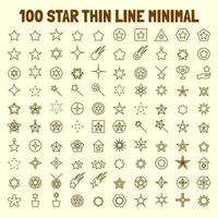 100 star thin line icons set vector