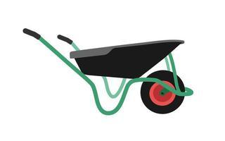 green wheelbarrow for gardening and construction. vector