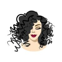 face of a beautiful girl with curly hairstyle. portrait of a lovely woman on a white background. beauty saloon. vector