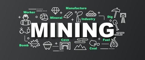 banner de moda de vector de minería