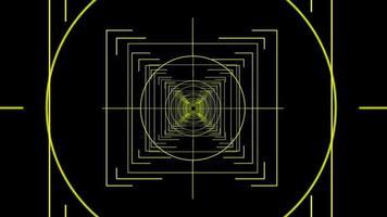 alvo do túnel com foco nas linhas amarelas