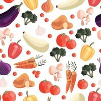 Seamless pattern with colorful vegetables. Hand drawn vector illustration design. Natural organic food. Wallpaper and fabric design.
