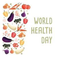 Plantilla de cartel cuadrado del día mundial de la salud con colección de verduras orgánicas frescas. colorida ilustración dibujada a mano sobre fondo blanco. comida vegetariana y vegana. vector