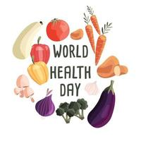 World health day square poster template with collection of fresh organic vegetables. Colorful hand drawn illustration on white background. Vegetarian and vegan food. vector