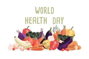 World health day horizontal poster template with collection of fresh organic vegetables. Colorful hand drawn illustration on white background. Vegetarian and vegan food. vector