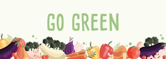Go green horizontal poster template with collection of fresh organic vegetables. Colorful hand drawn illustration on light green background. Vegetarian and vegan food. vector