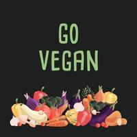 Go vegan square poster template with collection of fresh organic vegetables. Colorful hand drawn illustration on dark green background. Vegetarian and vegan food. vector