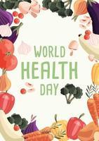 Plantilla de cartel vertical del día mundial de la salud con colección de verduras orgánicas frescas. colorida ilustración dibujada a mano sobre fondo verde claro. comida vegetariana y vegana. vector