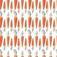 Seamless pattern with colorful carrots. Hand drawn vector illustration design. Natural organic food. Wallpaper and fabric design.