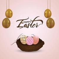 Colorful easter egg with nest on lightbackground vector