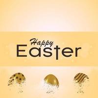 feliz día de pascua, invitación, tarjeta de felicitación, con, colorido, y, dorado, huevo de pascua vector