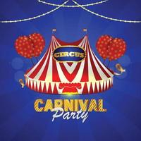 Carnival party invitation card with circus tent house vector