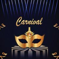 Carnival celebration party background with golden mask vector