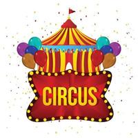 Carnival circus background with creative circus tent house and balloon vector