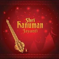 Creative golden hanuman weapon for hanuman jayanti vector