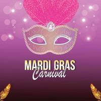 Creative illustration of carnival celebration invitation greeting card on purple background vector