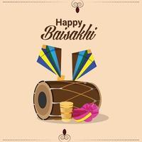 Flat design of happy vaisakhi vector illustration creative dhol and kite