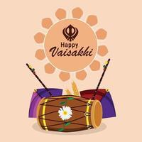 Flat design of vaisakhi celebration vector illustration and background