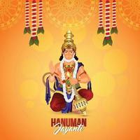 Vector illustration of lord hanuman with garland flower