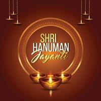 Shri hanuman jayanti vector illustration with weapon and background