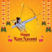 Happy ram navami indian festival with creative ilustration of lord rama vector