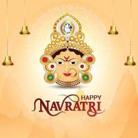 Happy navratri celebration greeting card with creative illustration of goddess durga vector