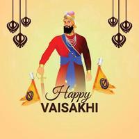 Vector illustration of happy vaisakhi indian festival background