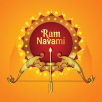 Creative illustration of lord rama for happy ram navami with golden bow with arrow or lord rama vector