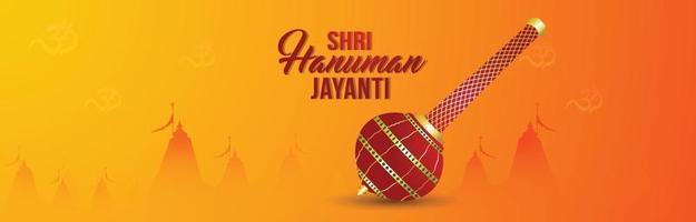 Happy hanuman jayanti celebration banner with lord hanuman weapon vector