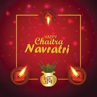 Happy navratri  greeting card and background with creative kalash and diya vector