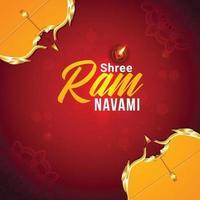 Happy ram navami celebration greeting card vector