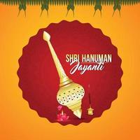 Hanuman jayanti celebration background with vector illustration of lord hanuman weapon