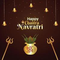 Happy chaitra navratri celebration greeting card with golden kalash and trishul vector