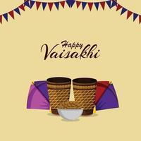 Flat design of happy vaisakhi indian festival celebration greeting card vector