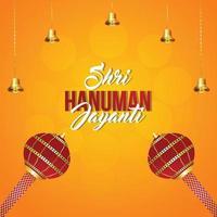 Shri hanuman jayanti vector illustration with lord hanuman weapon