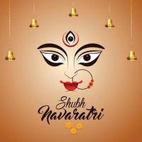 Indian festival happy navratri celebration greeting card with creative illustration of Goddess durga vector
